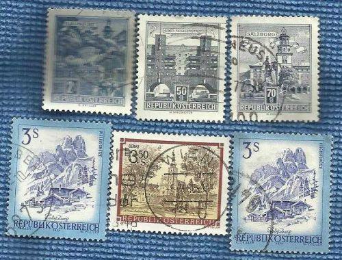 Austria 5 Stamps Salzburg Wien Klaggenfurt Geras Monastery