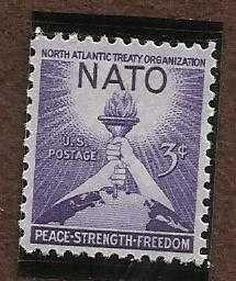 Scott #1008 (3c) NATO Torch of Liberty & Globe