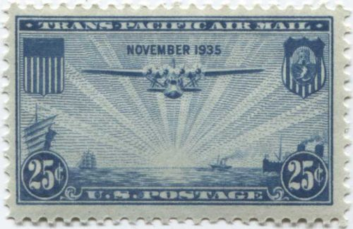 1935 25c Trans-Pacific Air Mail Blue China Clipper Steam and Sail Boats Mint NH