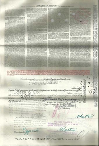 100 Shares Gulf States Utility Company Stock Certificate