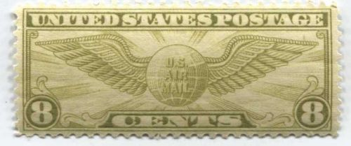 1932 8c US Airmail Winged Globe Stamp Extra Fine Mint Unused Unhinged Very nice