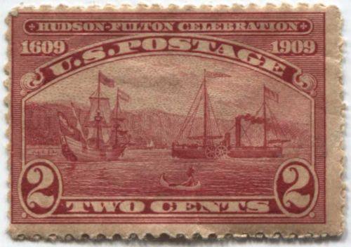 1909 2¢ Hudson-Fulton Celebration Unused Fair Centering Mint Hinged