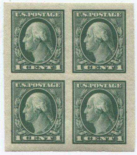 1916 1c George Washington Stamp Block 4 Stamps Imperforate Green