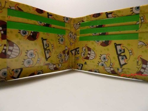 HAND MADE DUCT TAPE WALLET YELLOW WITH SPONGEBOB ALL OVER IT