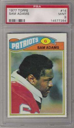 1977 Topps Football #14 Sam Adams PSA MINT 9 New England Patriots