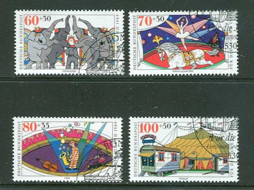 GERMANY SCOTTS #B678-81 COMPLETE USED SEMI POSTAL ISSUE SET OF 1989 CIRCUS TYPE.