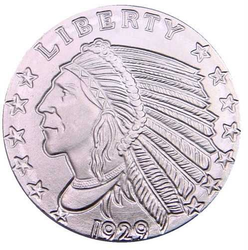 SILVER BULLION ROUND INDIAN HEAD 1/10 oz .999 PURE SILVER INVESTMENT FREE S/H*