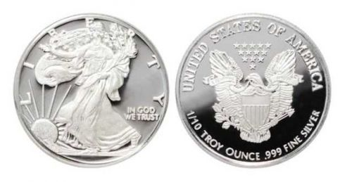 AMERICAN SILVER EAGLE BULLION ROUND 1/10 oz .999 PURE SILVER INVESTMENT