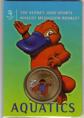 SYDNEY OLYMPICS 2000 Mascot (Syd) Medallion Booklet...AQUATICS
