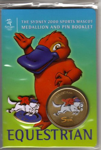 SYDNEY OLYMPICS 2000 Mascot (Syd) Medallion Booklet (with PIN)... EQUESTRIAN