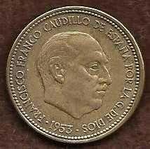 Vintage 1953 Spain 2.5 Pesetas Coin