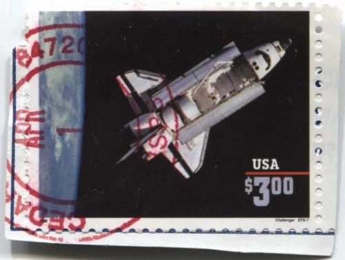 1995 Space Shuttle Challenger $3.00 Priority Mail Self-Adhesive on piece