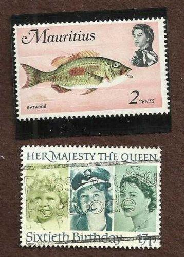 Mauritius 2 cent mint + Bonus Britain Queen Elizabeth 60th Birthday used