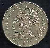 Mexico 50 Centavos 1971 - Cuauhtemoc Coin