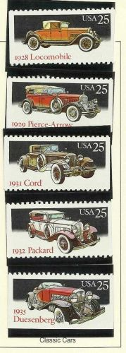 Classic Cars- Scott's 2381-2385 5 mint US stamps 1988 Commemoratives