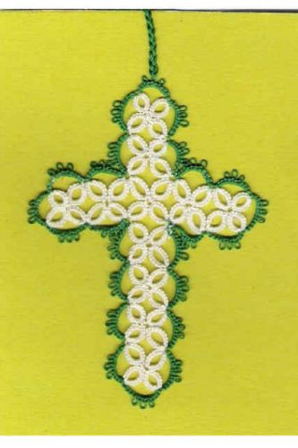 HANDCRAFTED Tatted Cross Bookmark BEAUTIFUL WORK - GTC701