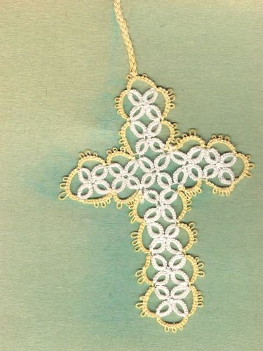 HANDMADE Tatted Cross Bookmark BEAUTIFUL WORK - GTC744 Canary Yellow