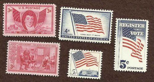 US UNUSED STAMPS 3 Flag Varienties, betsy Ross, and Francis Scott Key