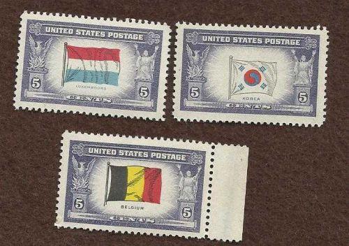 US UNUSED STAMPS 3 Foreign Flag Varienties