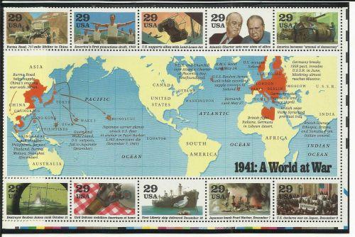 World War II 1991 US Commemorative Stamp Sheet 1941 WWII ERA