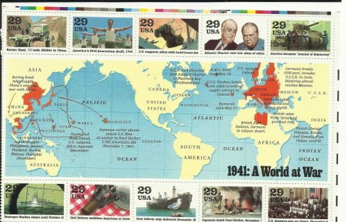 World War II 1991 US Commemorative Stamp Sheet 1941 WWII ERA Sale Item