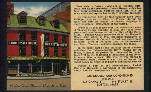 Union Oyster House, 41 Union Street, Boston, Mass.