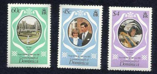 DOMINICA 1981 CHARLES & DIANA ROYAL WEDDING SET OF 3 UH