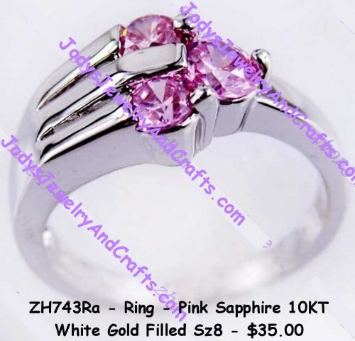 ZH743Ra - Ring - Pink Sapphire 10Kt White Gold Filled Sz 8
