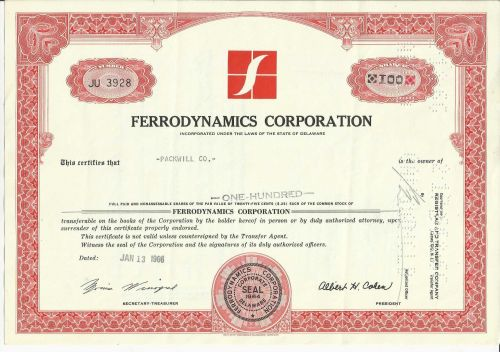 FERRODYNAMICS CORPORATION 100 SHARES STOCK CERTFICATE 1966