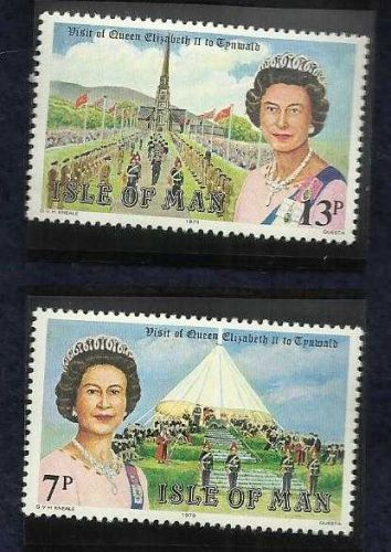LOVELY 1979 SET OF 2 ISLE OF MAN UK MINT/NH STAMPS QUEEN ELIZABETH TO TYNWALD