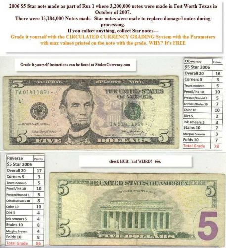 $5 2006 Federal Reserve STAR Note IA01411854 7 years old
