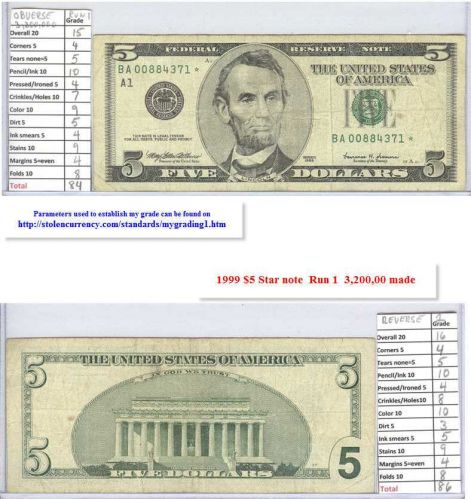1999 $5 Circulated Star Note #00884371
