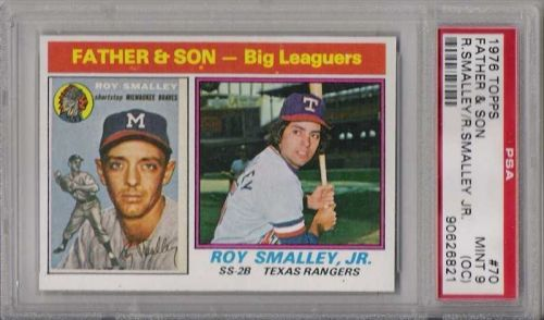 1976 Topps Baseball #70 Roy Smalley Father & Son PSA MINT 9(OC) Braves Rangers