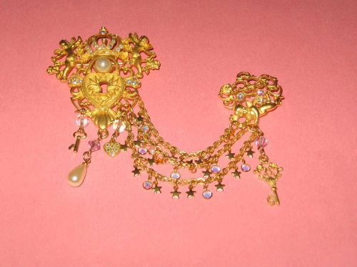 Kirks Folly Chatelaine Pin Brooch Duette Vintage EXC