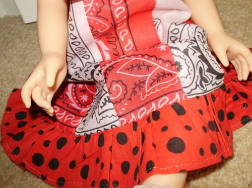 red and white bandanna dress for 18 inch doll