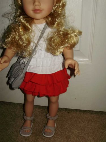 red ruffle skirt leggings and free shoes 18 inch doll