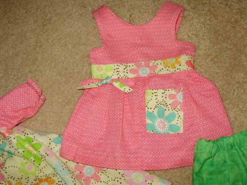 18 inch peasant dress and pataloons patch work green and pink