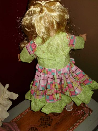 summer skirt set for 18 inch doll patch work green and pink color