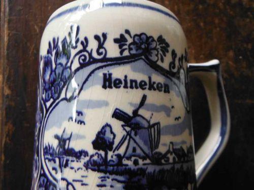 Two (2) Vintage Delft Blue (Holland) Heiniken Beer Mugs!