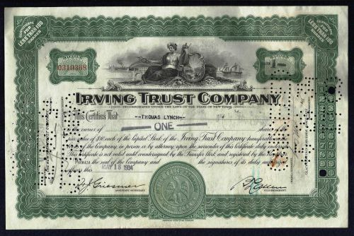 Vintage Old Irving Trust Company 1930's Stock Certificate May 18, 1934