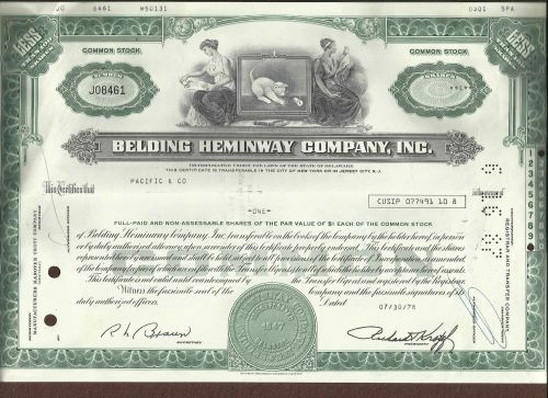 Belding Heminway Corporation Stock Certificate