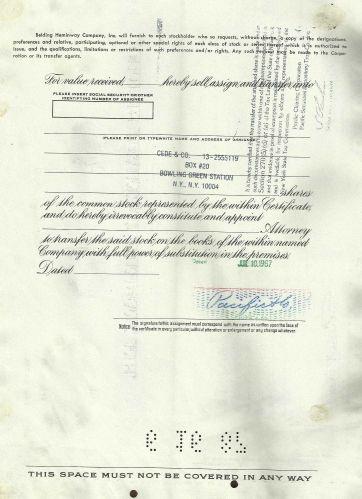 Belding Heminway Corporation Stock Certificate