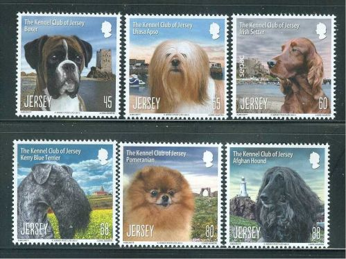 DOGS ON STAMPS NEW ISSUE FROM THE JERSEY POST OFFICE. MNH POST OFFICE FRESH.