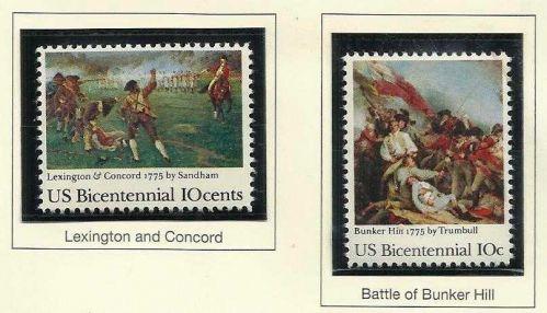 1975 USA STAMP - US Bicentennial- Lexington & Concord / Battle of Bunker Hill