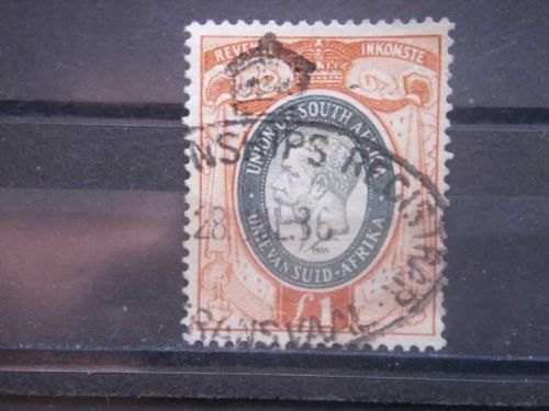 SOUTH AFRICA, 1935, used £1, Revenue, George V