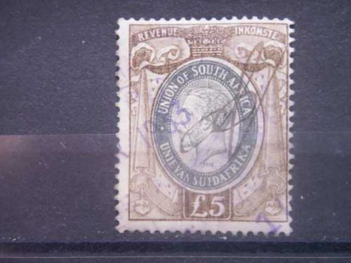 SOUTH AFRICA, 1935, used £5, Revenue, George V