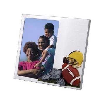 "Brushed Aluminium Photo Frame w/ 3-D ""Football Theme"""