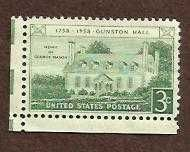 Scott #1108 Gunston Hall Bicentennial unused US stamp 3c 1758-1958 Mason