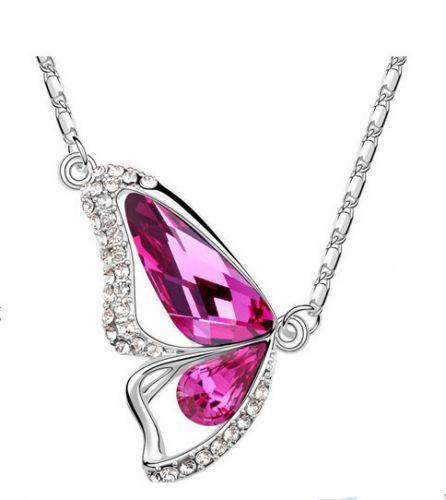 New Fashion Beautiful Butterfly Wings Women Crystal Necklace | Purplish Red