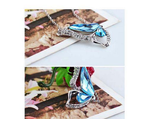 New Fashion Beautiful Butterfly Wings Women Crystal Necklace | Sea Blue
